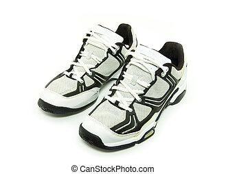 running shoes - A pair of men\'s running shoes on white