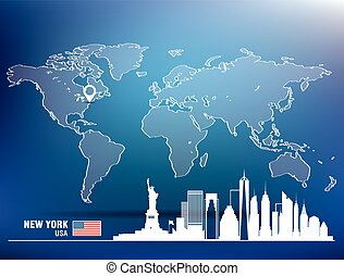 Map pin with New York skyline