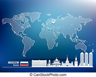Map pin with Moscow skyline