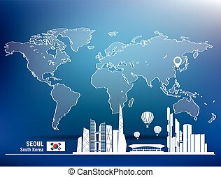 Map pin with Seoul skyline - vector illustration