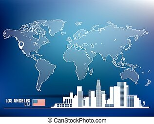 Map pin with Los Angeles skyline