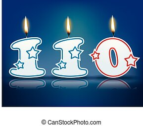 Birthday candle number 110 with flame - eps 10 vector...