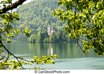 Lake Bled, Slovenia - View of Lake Bled with island in...