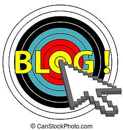 blog, cible, déclic, flèche, Curseur,...