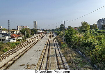 Railway station Ruse town - Railway station Ruse - view from...