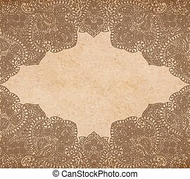 Vintage old paper texture with vector traditional oriental...