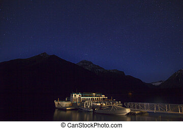 Lake McDonald Night with Stars Glacier National Park