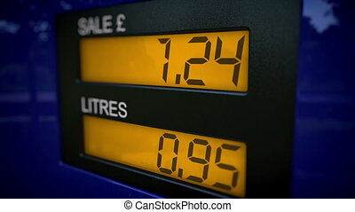 British petrol pump starts at 0 - Gas pump display showing...