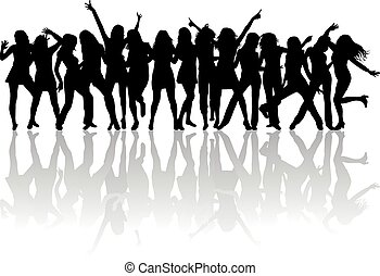 hermoso, mujeres, bailando