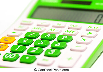 Vivid Green Digital calculator isolated on white background