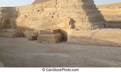 Sphinx and Cheops pyramid in Giza Cairo Egypt - famous...