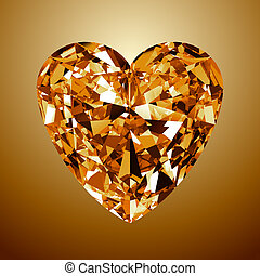 Yellow Diamond Heart. 3D Model On Yellow Background.