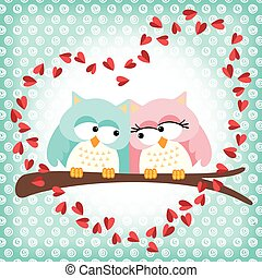 Cute owls couple with love heart