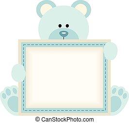 Cute teddy bear holding blank sign