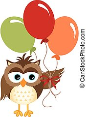 Owl holding balloons - Scalable vectorial image representing...