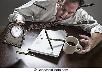 Stressed Man At Desk, Pens, Coffee, Glasses, Clock Flying Up...