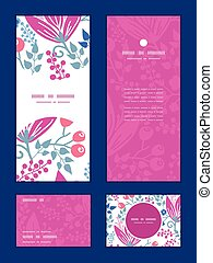 Vector pink flowers vertical frame pattern invitation...