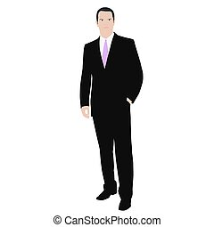 Business man. Isolated vector color drawing of a man in a...