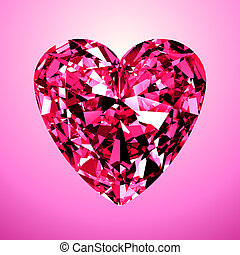 Pink Diamond Heart. 3D Model On Pink Background.