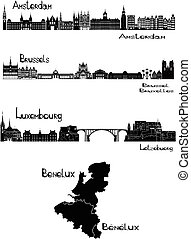 Capitals of Benelux - Vector illustration of silhouettes of...