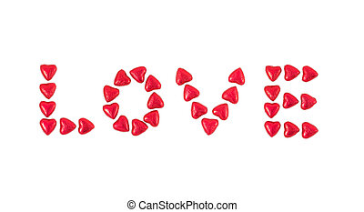 The word Love Written with Hearts