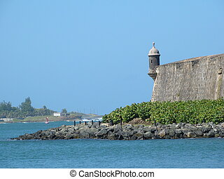 Old San Juan Guerite - A watchtower in Old San Juan Puerto...