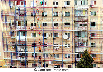 Building rehabilitation - ROMANIA CIRCA AUGUST 2014:...
