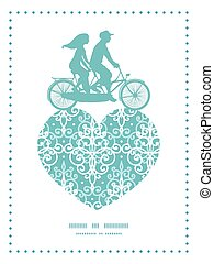 Vector light blue swirls damask couple on tandem bicycle...