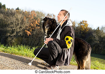 Guide dog is attentive - A guide dog takes care of his blind...