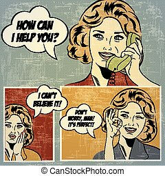 Illustrations for comic books with retro woman in pop art...