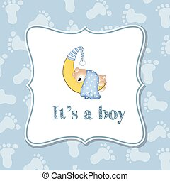Baby boy  invitation for baby shower, vector format
