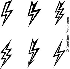 vector lightning silhouettes on white background  icon set