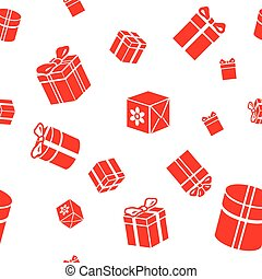 Seamless vector Gift pattern, red gift boxes on white...