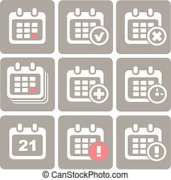 Vector Calendar Icons: event add delete progress. White...