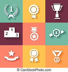 Set of white vector award success and victory icons with...