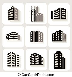 Set of dimensional buildings icons in grey and white with...