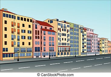 City street with buildings that can be used separately....