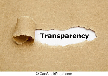 Transparency Torn Paper Concept - The word Transparency...