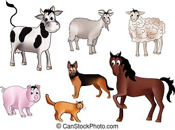 Domestic animals - Seven domestic animals - cow, goat,...