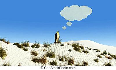 desert and penguin - illustration of a penguin in a desert...