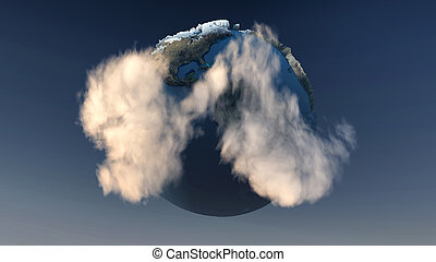 blue planet - 3d image of a Mini planet earth with ecosystem...