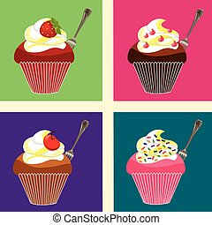 cupcakes colored - Is a EPS 10 Illustrator file