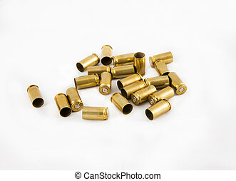 ammunition shell 9 mm. - old 9 mm. ammunition shell on white...