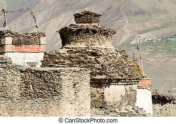 Buddhist stupa in tibetan village - Buddhist stupa in the...