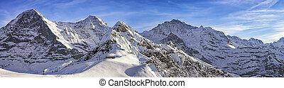 quattro, Alpino, picchi, e, sciare, Ricorso, in, svizzero,...