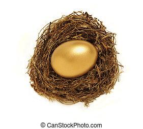 dourado, ninho, ovo, representando, aposentadoria,...