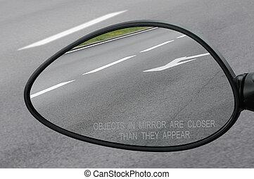 più vicino, testo, oggetti, specchio, avvertimento, retro, vista