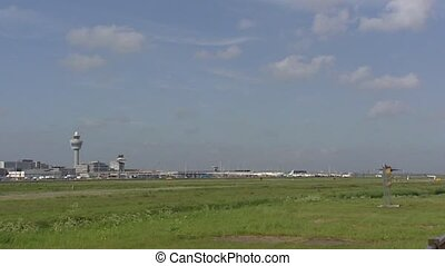 Amsterdam Airport Schiphol, The Netherlands - airplane take...