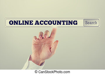 Online accounting written in the search bar of a virtual screen