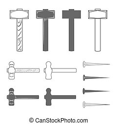 Hammers and hobnails Vintage Style Vector Illustration...